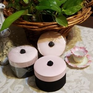 Three Pink&Black Cushiony Round Containers